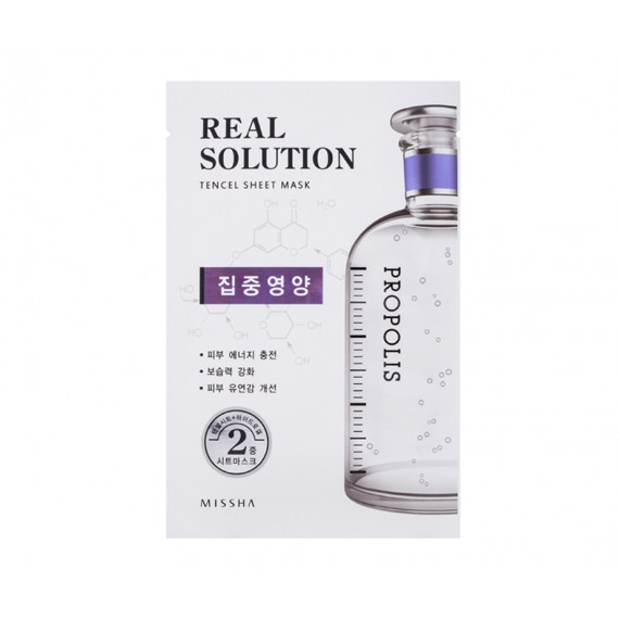 Missha, Real Solution Tencel Sheet Mask PROPOLIS , Maska w płacie, 25 g