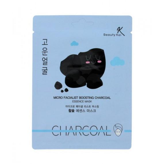 Beauty Kei, Micro Facialist Boosting Charcola Essence Mask, Oczyszczająca WĘGLOWA maska do twarzy, 23 g