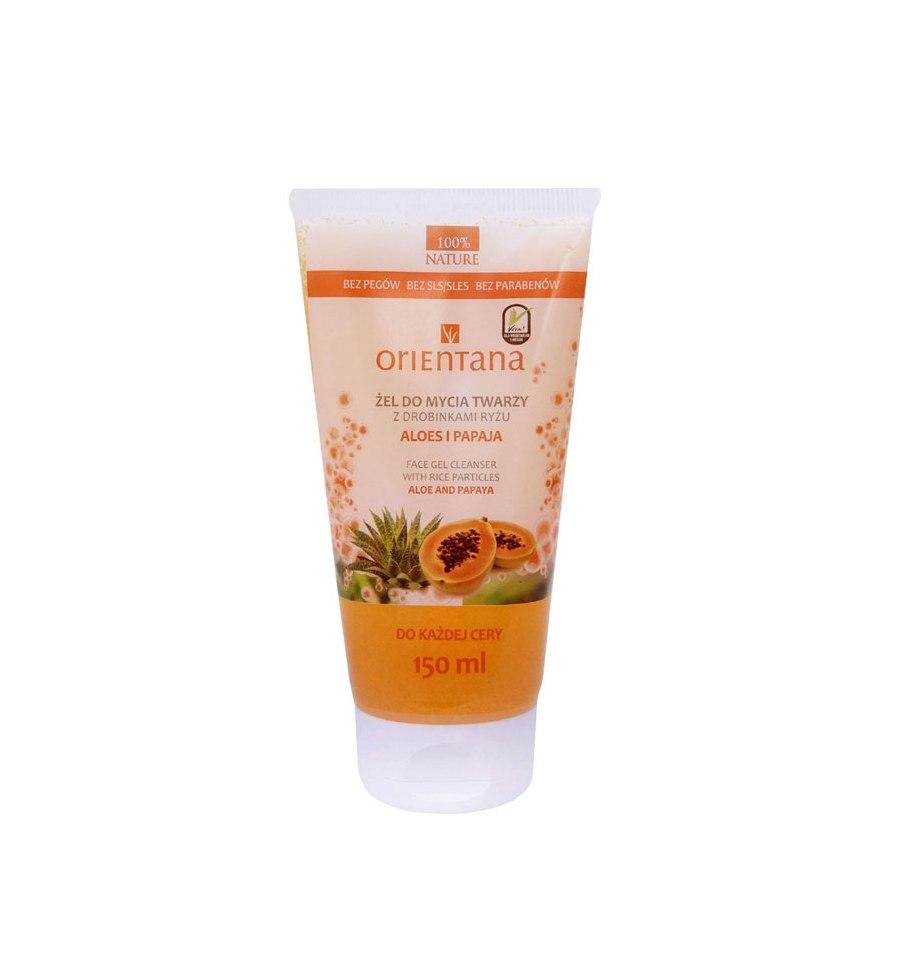 Orientana, Żel do mycia twarzy z drobinkami ryżu, aloes i papaja, 150 ml