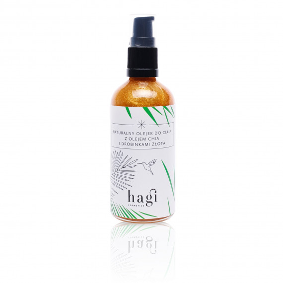 Hagi, Naturalny olejek do ciała z olejem chia i drobinkami złota, 100 ml