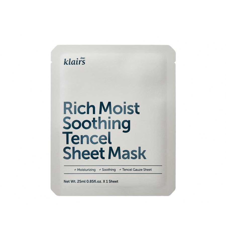 Klairs, Rich Moist Soothing Tencel Sheet Mask, Łagodząca maska w płacie, 25 ml