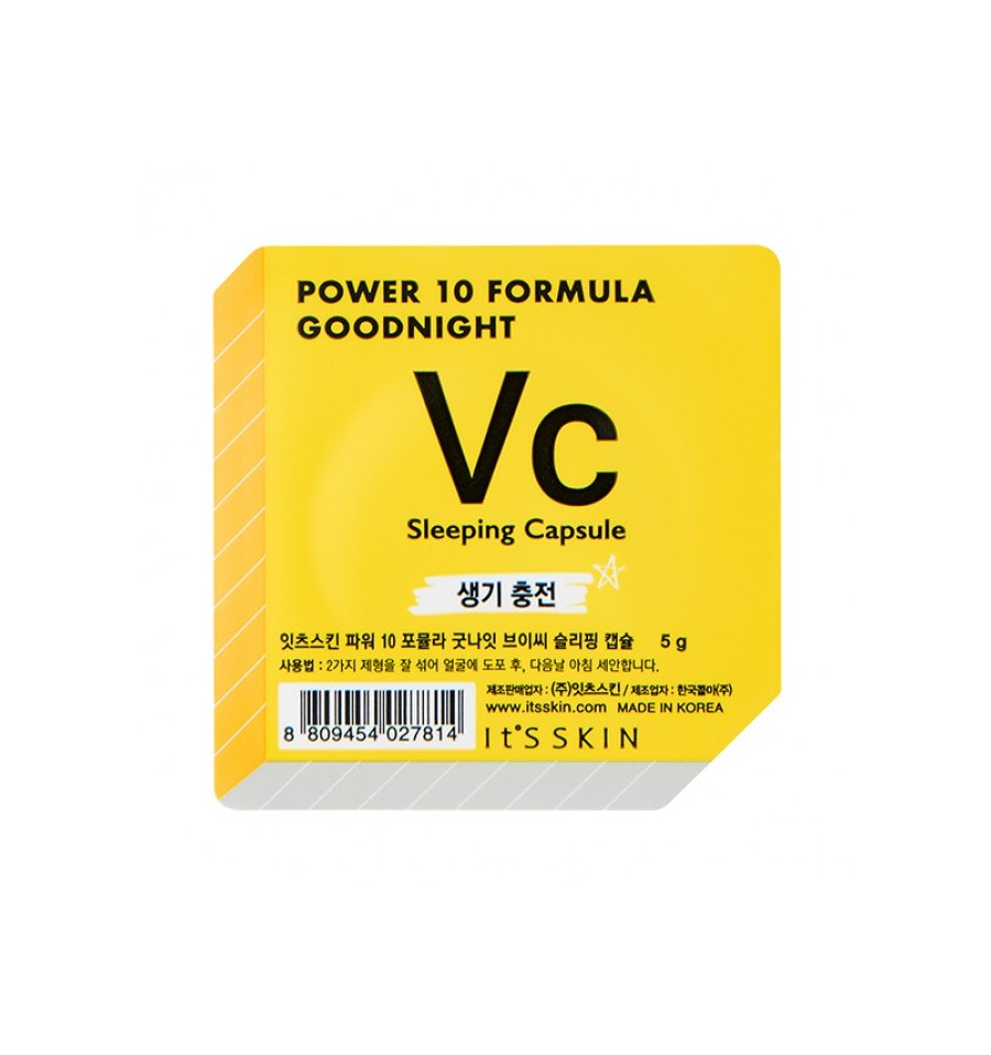 It's Skin, Power 10 Formula VC, Good Night Sleeping Capsule, Rozświetlająca dwufazowa maseczka całonocna, 5 g