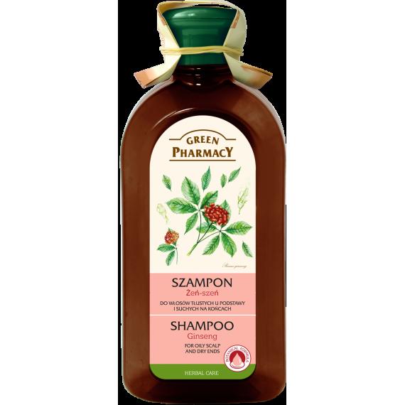 Green Pharmacy, Szampon do włosów tłustych u podstawy i suchych na końcach Żeń-szeń, 350 ml