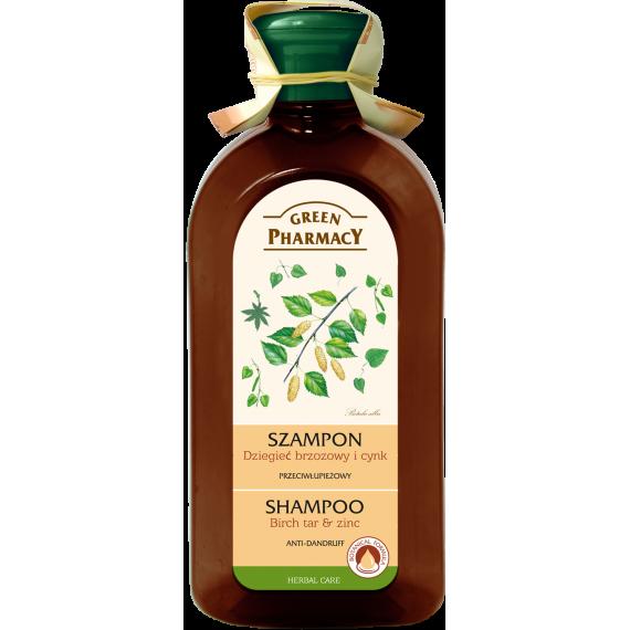 Green Pharmacy, Szampon przeciwłupieżowy Dziegieć brzozowy Cynk, 350 ml