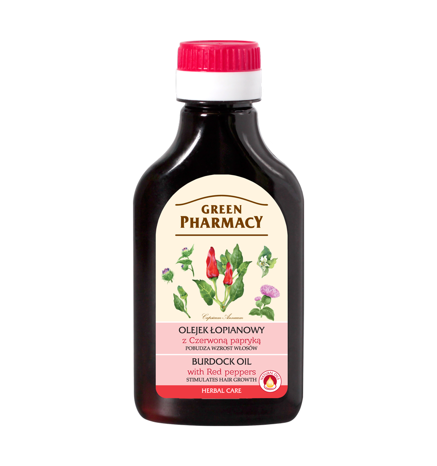 Green Pharmacy, Olejek łopianowy z czerwoną papryką - pobudza wzrost włosów, 100 ml