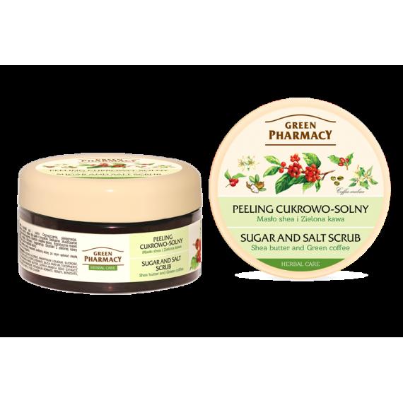 Green Pharmacy, Peeling cukrowo - solny Masło shea i Zielona kawa, 300 ml