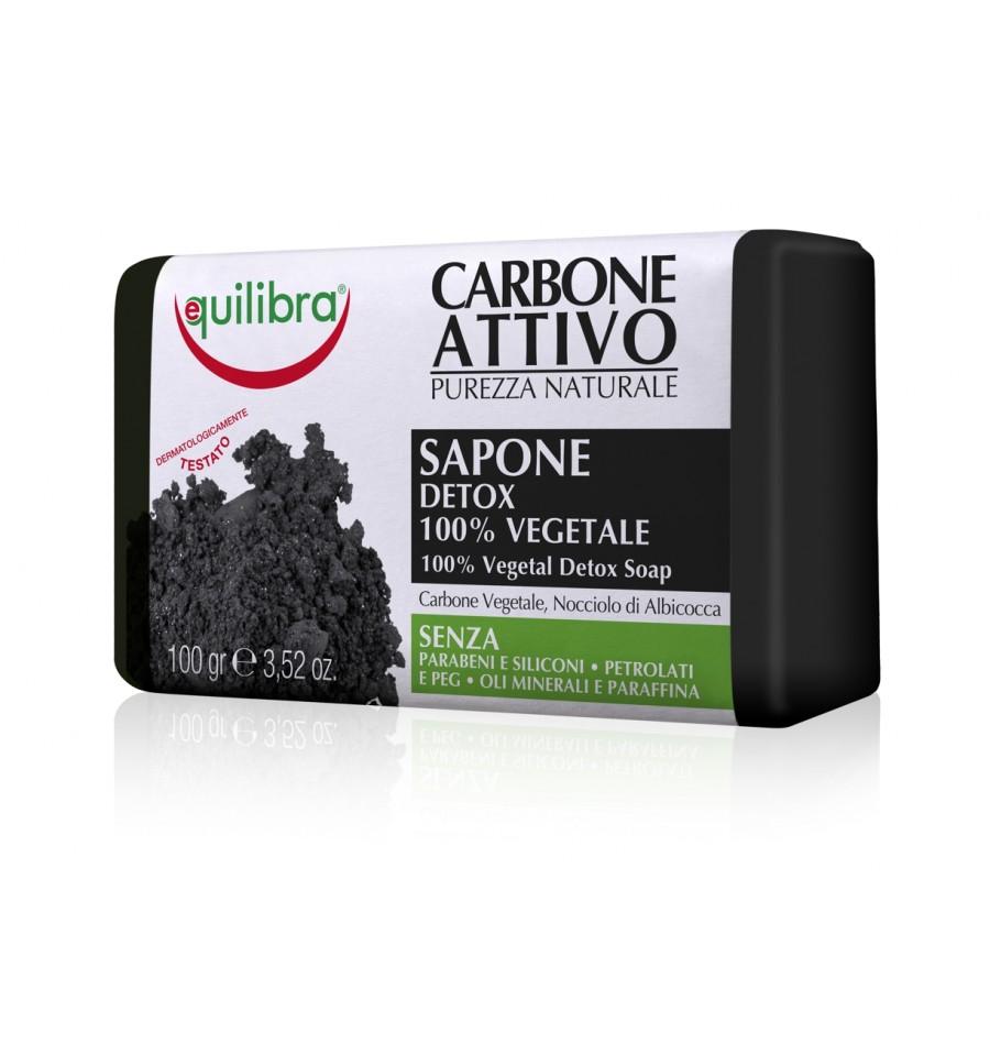 Equilibra, Mydło oczyszczające 100% roślinne, z aktywnym węglem, 100 g