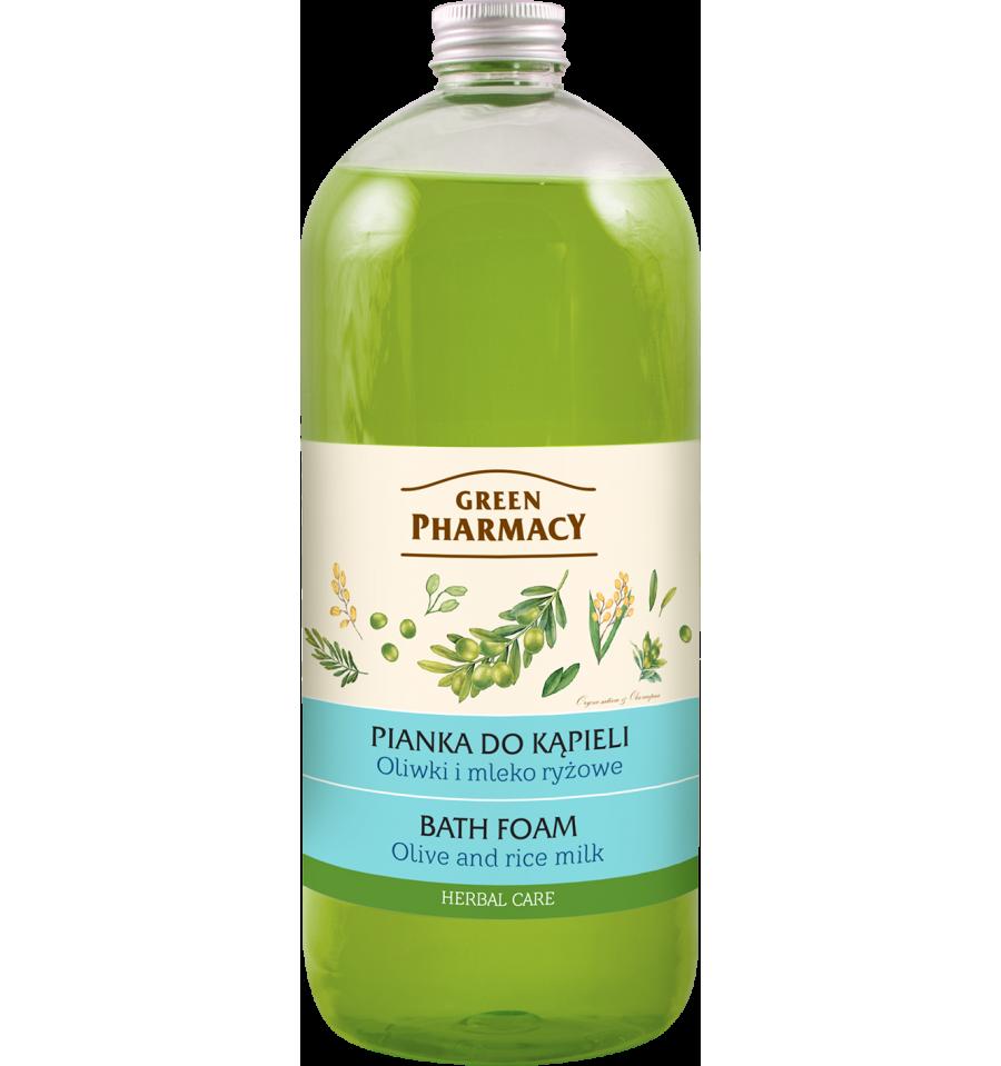 Green Pharmacy, Pianka do kąpieli Oliwki i Mleko Ryżowe, 1l