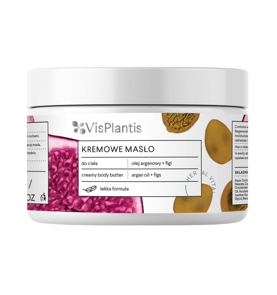 Vis Plantis, Kremowe masło do ciała, odmładzające, olejek arganowy i figi, 250 ml