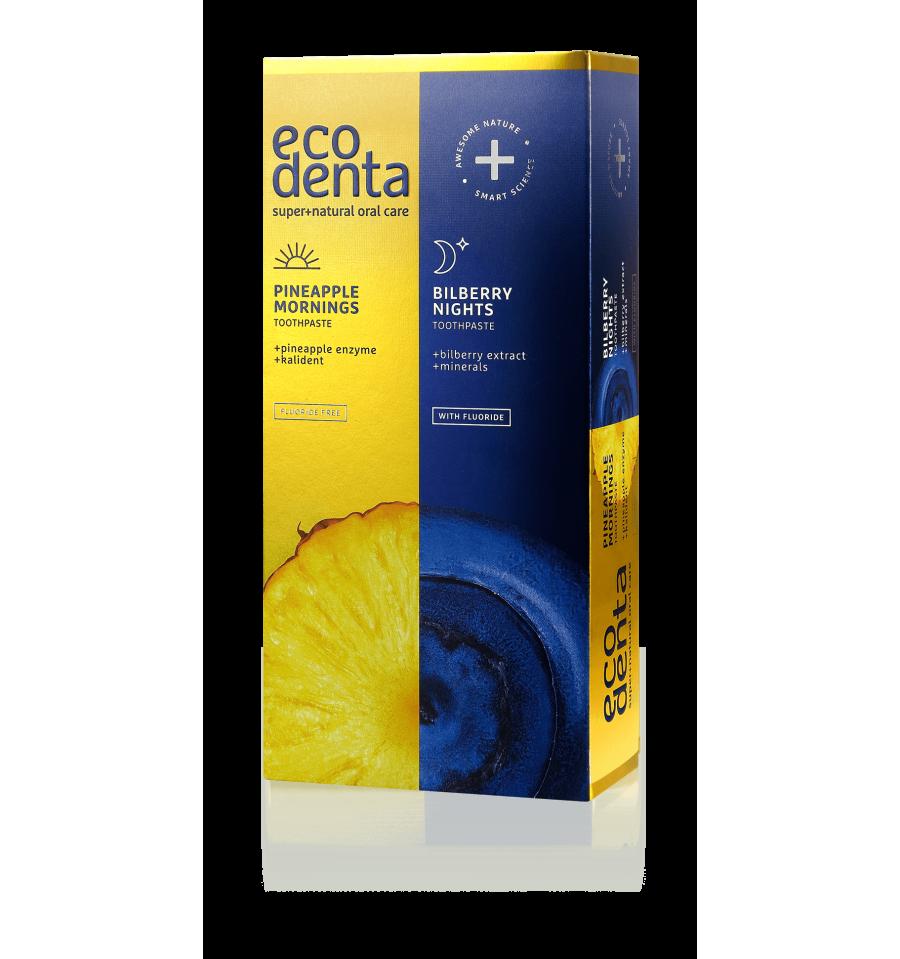 Ecodenta, Pasty do zębów na dzień i na noc, Zestaw 2x100 ml