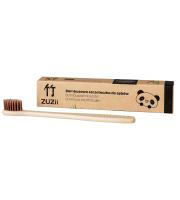 ZUZii, Bambusowa szczoteczka do zębów brązowa - dla dorosłych, 1 sztuka