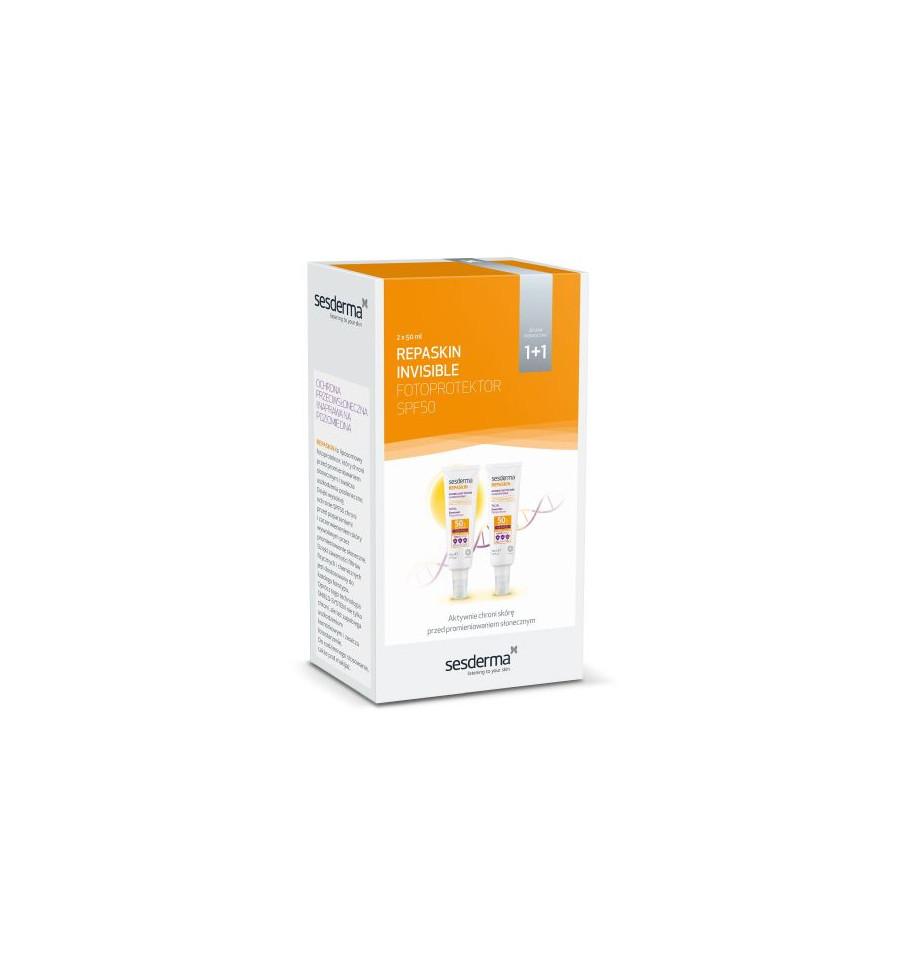 Sesderma, Zestaw ochrona przeciwsłoneczna i naprawa na poziomie DNA (Duopack Repaskin Fotoprotector Invisible SPF 50), 2 x 50ml
