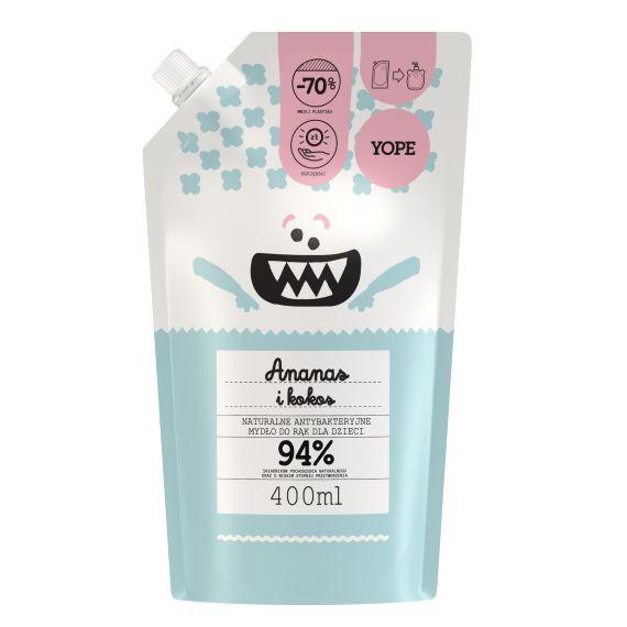 ope, Antybakteryjne mydło dla dzieci Ananas i Kokos REFILL, 400ml