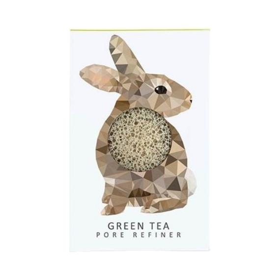 Konjac Sponge Company, Mini Gąbka Konjac Zając z zieloną herbatą o działaniu wzmacniającym i antyoksydacyjnym dla każdej cery