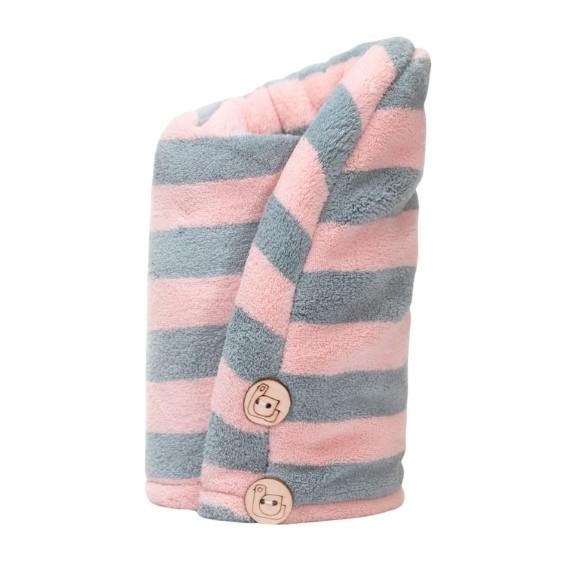 Trust My Sister, Ręcznik do włosów z mikrofibry, pink + grey
