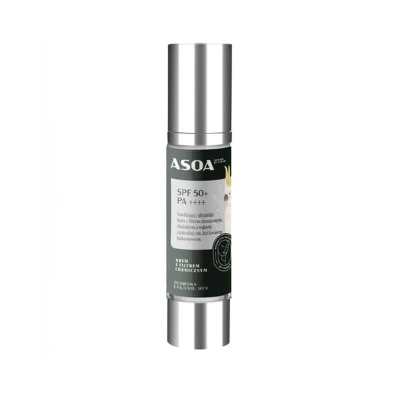 Asoa, Krem z filtrem chemicznym SPF50+ PA++++, 50 ml