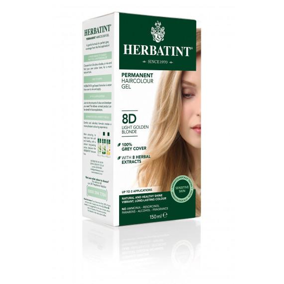 Herbatint, Trwała farba do włosów, 8D JASNY ZŁOTY BLOND seria złota