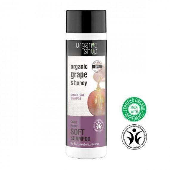 """Organic Shop, Szampon do włosów DELIKATNA PIELĘGNACJA """"Miód i winogrona"""", 280 ml"""