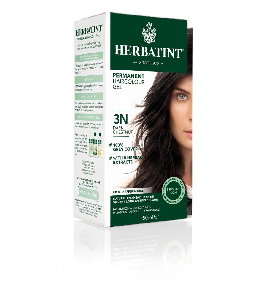 Herbatint, Trwała farba do włosów, 3N CIEMNY KASZTAN, seria naturalna