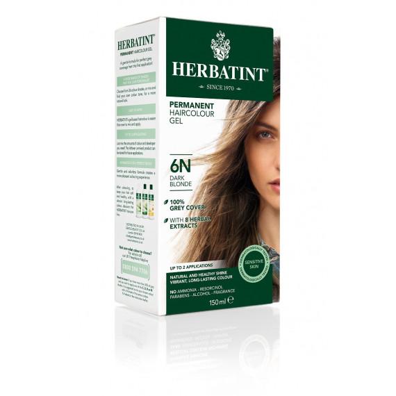 Herbatint, Trwała farba do włosów, 6N CIEMNY BLOND, seria naturalna