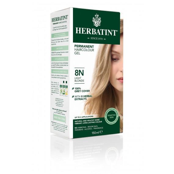 Herbatint, Trwała farba do włosów, 8N JASNY BLOND, seria naturalna