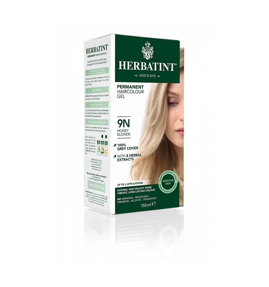 Herbatint, Trwała farba do włosów, 9N MIODOWY BLOND, seria naturalna