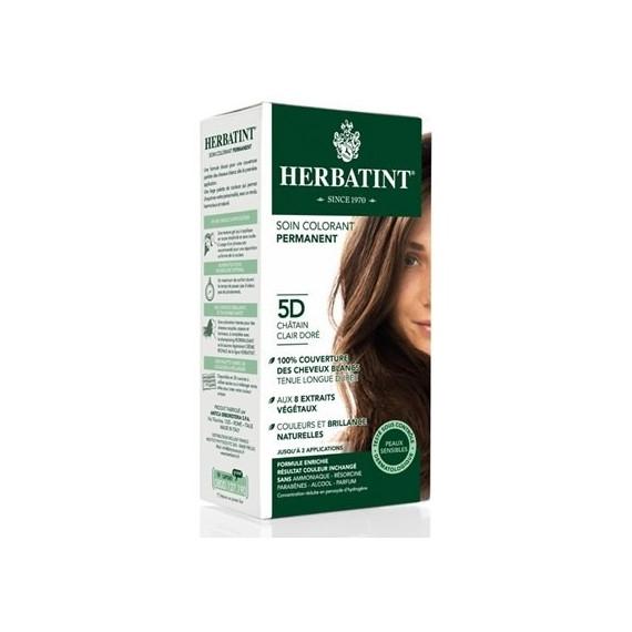 Herbatint, Trwała farba do włosów, 5D JASNY ZŁOTY KASZTAN seria złota