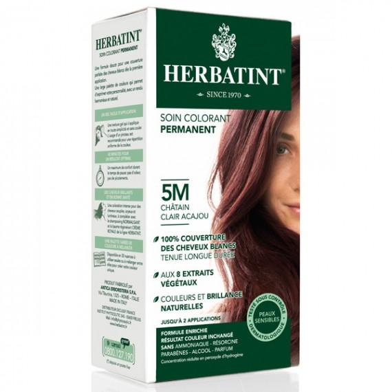 Herbatint, Trwała farba do włosów, 5M JASNY MAHONIOWY KASZTAN, seria mahoniowa
