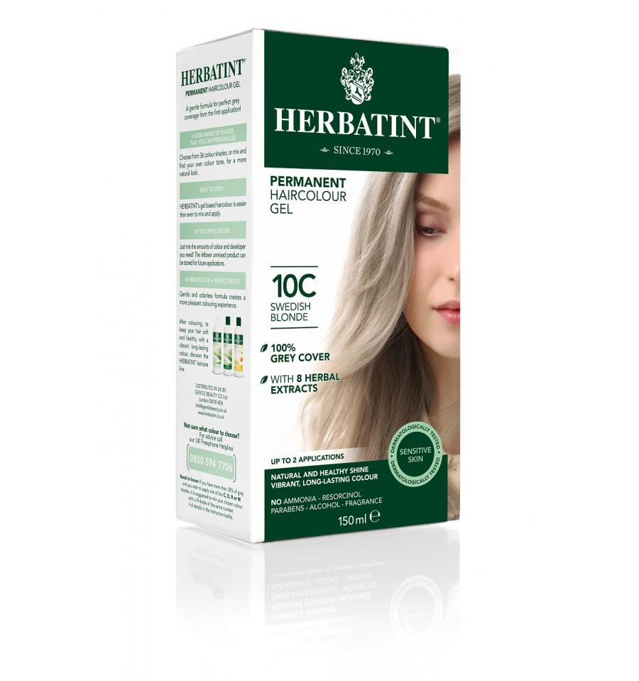 Herbatint, Trwała farba do włosów, 10C SZWEDZKI BLOND, seria popielata